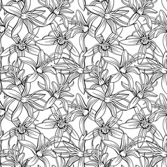 Monochrome seamless floral vector pattern