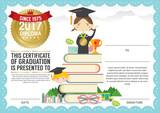 Preschool Elementary School Kids Diploma Certificate Background.