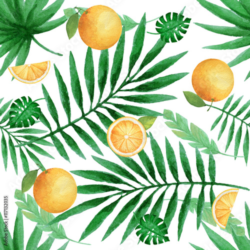 Fototapeta Watercolor seamless pattern with juicy oranges and tropical leaves.