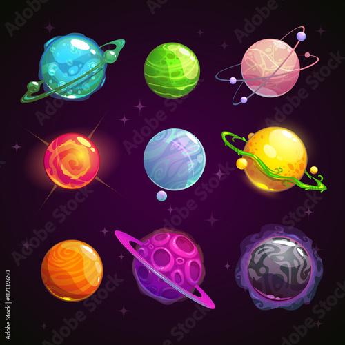 Colorful cartoon fantasy planets set