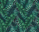 Watercolor tropical palm leaves seamless pattern. Vector illustration. - 117140259