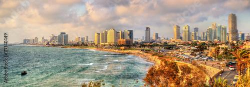 Panorama of the Mediterranean waterfront in Tel Aviv