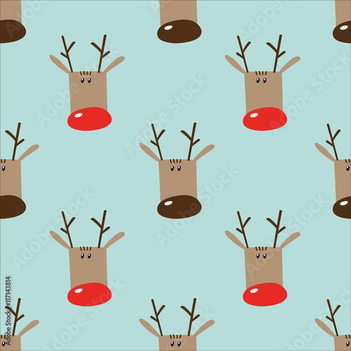 Seamless winter holidays pattern with funny cartoon deers on lig © mrs_nag