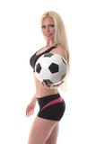 soccer player girl with sports ball