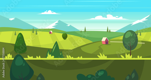 Fotobehang Turkoois Cartoon nature seamless landscape with houses