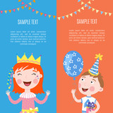 Happy birthday kids banners set vector holiday illustration
