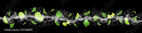 Lime, mint and water splash