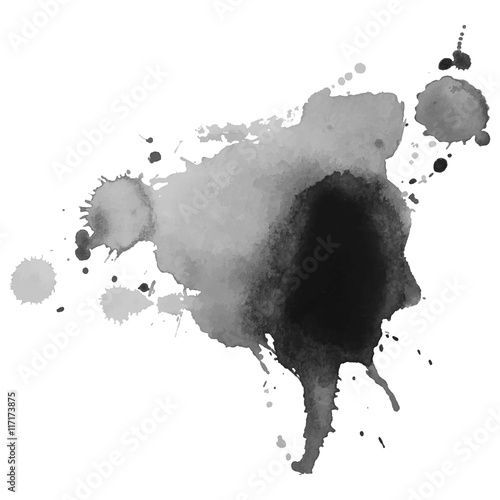 Abstract watercolor grayscale background. © chulock