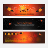 Set of happy Halloween banner background in vertical for sale evil wings spider web