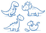 Fototapeta Dinusie - Cute little cartoon dinosaur babies for children, hand drawn vector doodle © danielabarreto