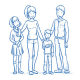 Happy young family in casual clothes with two children. Hand drawn line art cartoon vector illustration. - 117178413
