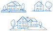 Set of three different houses, detached, single family houses with gardens. Hand drawn cartoon vector illustration. - 117180479