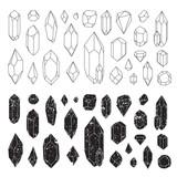 Fototapety Set of geometric crystals, line design. Isolated on white background. Vector illustration EPS 10. Grunge shapes.
