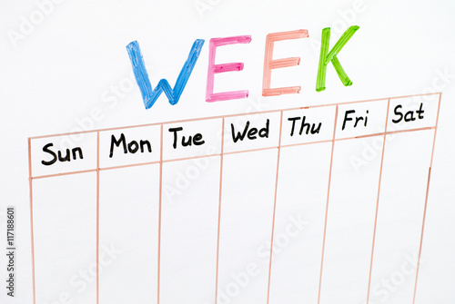 Seven days of the week writing on white board