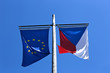 Flags of the European Union and the Czech Republic