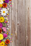 Garden flowers over wooden background - Fine Art prints