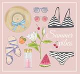 Summer fashion vector accessories set. - 117195058