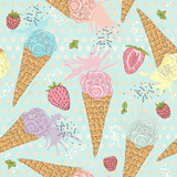 Cute seamless pattern with ice creams, strawberries and raspberr - 117195067