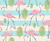 Cute seamless pattern with flamingos and palm. Vector background - 117195204