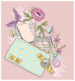 Background with purse, mobile phone, perfume,flower, jewelry and - 117195212