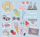 Summer fashion vector accessories set. - 117195232