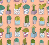 Cute seamless cactus pattern. Vector background with flowers. - 117195401