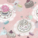 Seamless pattern with cupcakes, tea and macaroons. Cute vector b - 117195422