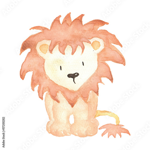 Poster Lion Watercolor hand-painted illustration isolated cute animals little baby