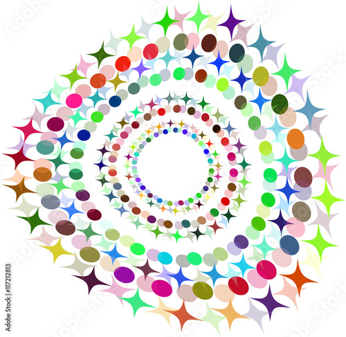 Foto op Canvas Bloemen vrouw Vector Abstract Halftone Circle Frame - Colorful Design