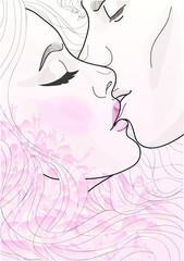 beautiful pair of lovers kissing tenderly