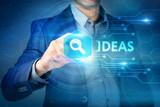 Business, internet, technology concept.Businessman chooses Ideas