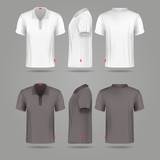 White black mens polo t-shirt front back and side views