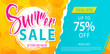 Summer sale lettering template banner. Vector illustration in yellow and blue color.