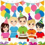 Cute children having fun on birthday party