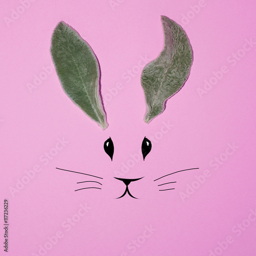 Naklejka Rabbit ears from the leaves on a pink background