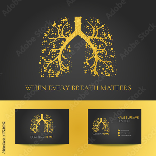 Medical business card template with lungs filled with air bubbles on medical business card template with lungs filled with air bubbles on black background gold vector accmission Images