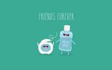 Funny dental floss with mouthwash bottle. Friend forever. Vector illustration.