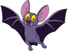 Happy Bat Cartoon Flying Sticker