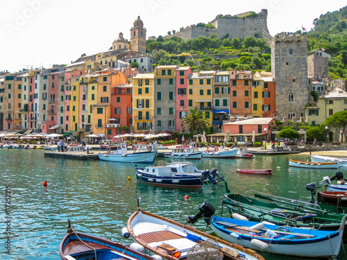 Traditional boats in harbor at Porto Venere, Cinque Terre National Park, Unesco Heritage Poster