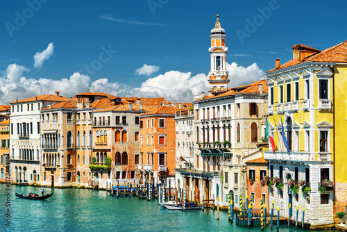 Colorful facades of medieval houses and the Grand Canal, Venice Poster