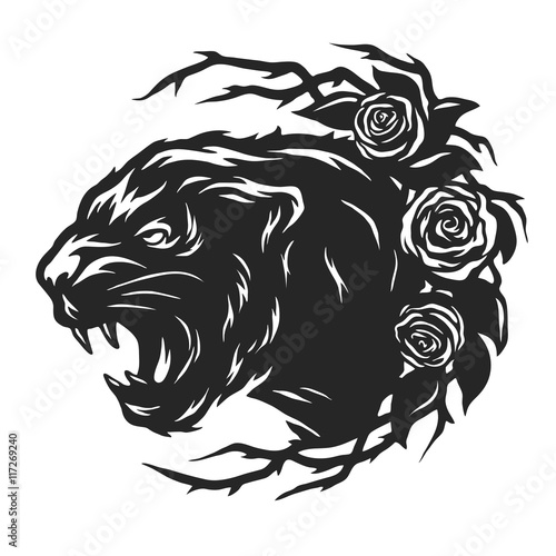 Fototapeta The head of a black panther and roses.