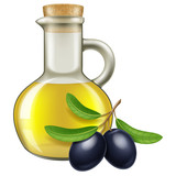 Olive oil in a jar with black olives. Vector illustration.