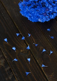 Petals of cornflowers on a dark wooden table. Bouquet of cornflowers in the background.