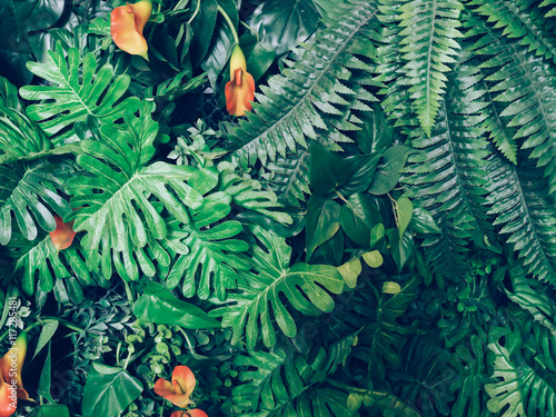 Fashionable green jungle summer background - in exotic vintage tone