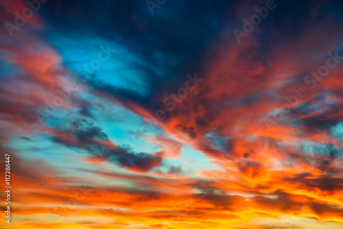 Colorful orange and blue dramatic sky