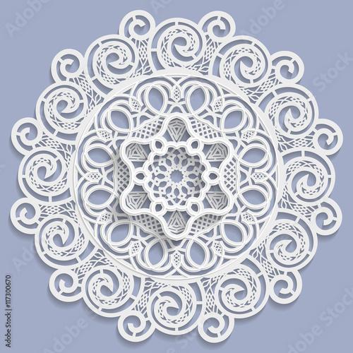 Fototapeta Lace 3D mandala, decorative flower, lace doily, decorative snowflake, arabic ornament, indian ornament, embossed pattern, vector