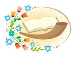Yom Kippur Clip art - Horn with open book and flowers with stars of David around it. Eps10
