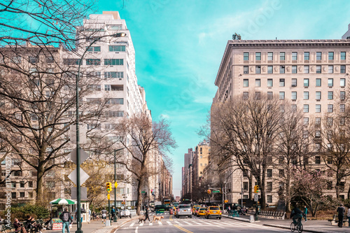 Foto op Canvas New York TAXI Streets and Buildings of Upper East Site of Manhattan, New York