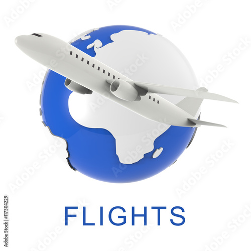 Airplane Flights Shows Travel Guide And Airline 3d Rendering