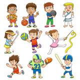 illustration of children playing different sports.